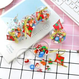 20pcs Cartoon Snowman Santa Elk Erasers Christmas Ball Rubber Kawaii Stationery Kids Toys Correction Tools Xmas Tree Decor