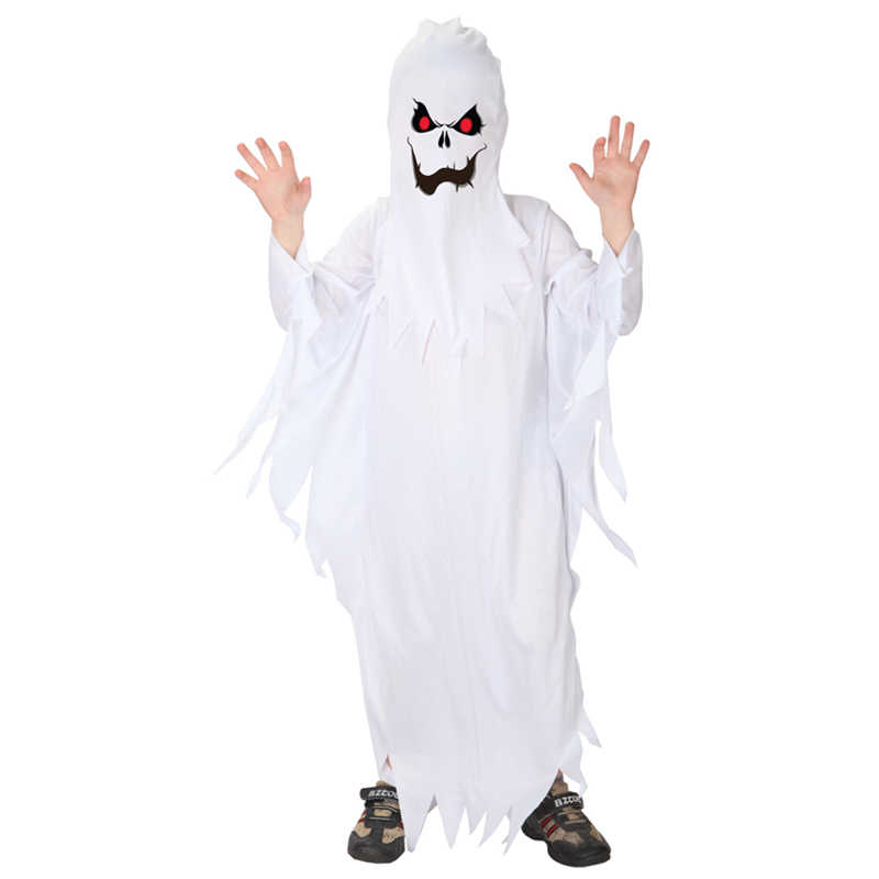Kids Child Boys Spooky Scary White Ghost Costumes Robe ...