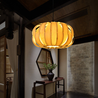 Southeast Asia Led Wood Pendant Lights Hand Made Ceiling Hanging Lamp For Living Room Bedroom Creative Bar Decoration Hanglamp