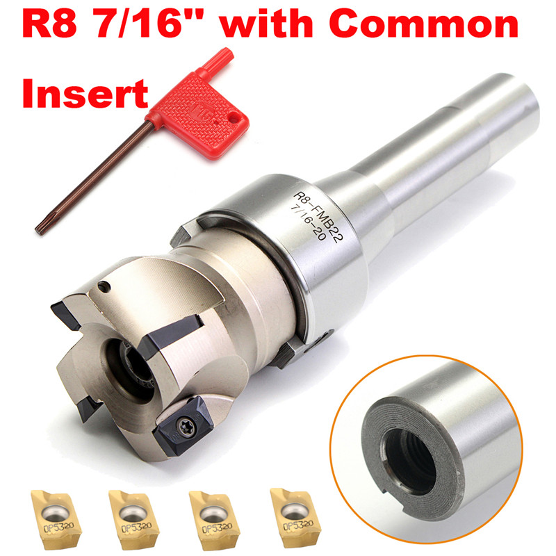 1Set 90 Degree R8 FMB22 Straight Shank Arbor Face End Mill Cutter 4pcs APMT1604 Carbide Inserts Turning Tool