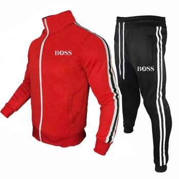 Męska Joggingsuit nowa moda odzież sportowa męska Zipper dopasowane kolory płaszcz + spodnie odzież sportowa Fitness odzież męska marki tanie i dobre opinie CN (pochodzenie) O-neck Elastyczny pas Inne Pełna Na co dzień Drukuj