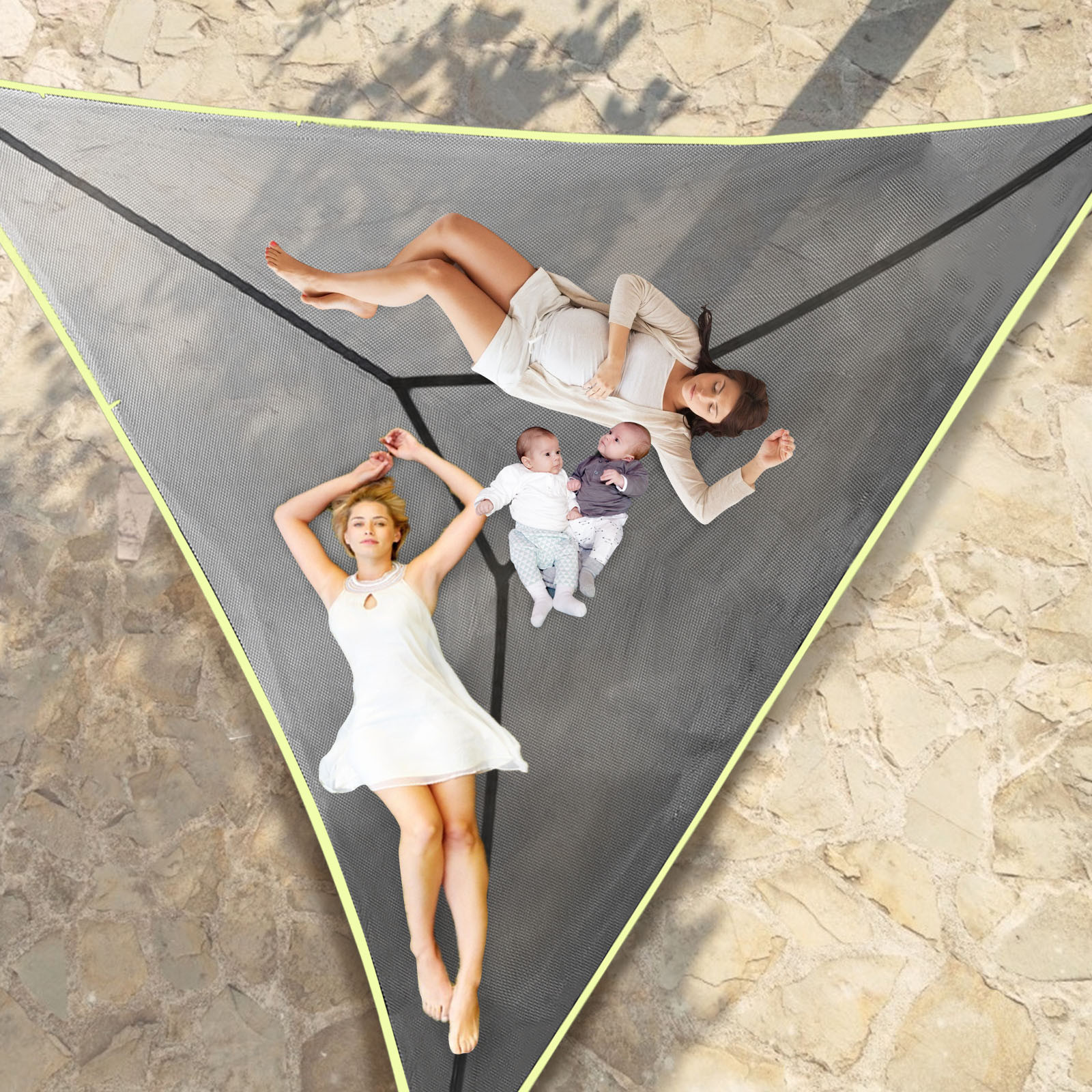 3-Person Tree Hammock - Patented 3 Point Design, Heavy Duty Ratchets and Straps Aerial Mat -Hammock Tree House Air Sky Tent