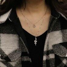 Colar de aço inoxidável para mulheres cobra colar de corrente longa gargantilha colar de pingente de cristal de cobra colares multicamadas