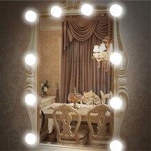 Светодиодный светильник-зеркало, настенный светильник, 12 В, лампа для макияжа, комплект, USB, для туалетного столика, бесступенчатый, с регулируемой яркостью, голливудский туалетный светильник для ванной