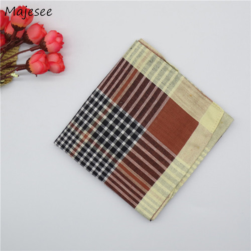 Handkerchiefs Women Striped Plaid Simple Elegant Ladies Pocket Square Towel Vintage Fashion Causal Daily High Quality Cotton New