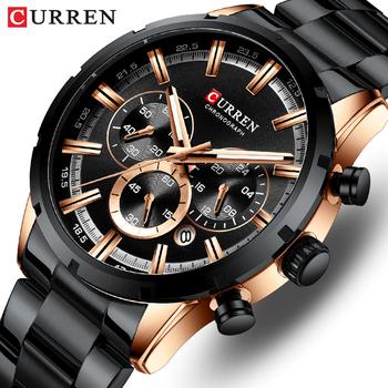 Nowe CURREN męskie zegarki klasyczne estetyczne wzornictwo męskie zegarki sportowe wodoodporne nierdzewne zegarki męskie kwarcowe Relogio Masculino tanie i dobre opinie 24cm QUARTZ 3Bar Bransoletka zapięcie Stop 13mm Hardlex STAINLESS STEEL 47mm CURREN8355 24mm ROUND Odporny na wstrząsy