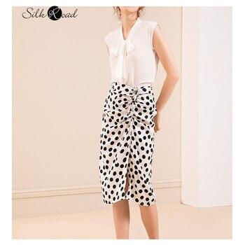 Silviye Heavyweight silk satin skirt women's polka dot print mulberry silk high waist thin A-line skirt summer high waist polka dot print trumpet pants