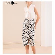Женская атласная юбка в горошек silviye тяжелая тонкая трапециевидная