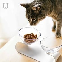 Jordan&Judy Pet Double Bowls Cats Dogs Universal Slanting Small Dog Feeding Bowl