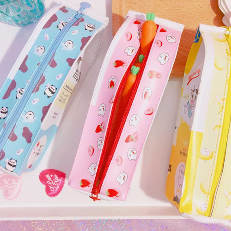 Waterproof Cartoon penda Pencil bag for Girls cute Korea style pen bags Strawberry Milk Pen Box Pencilcase School Supply pouch