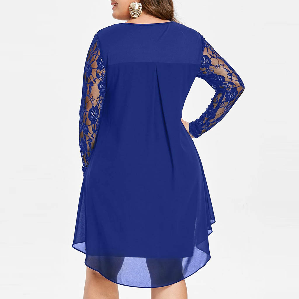 Women Lace Dress Casual Plus Size Sheer Lace Sleeve High Low Hem O