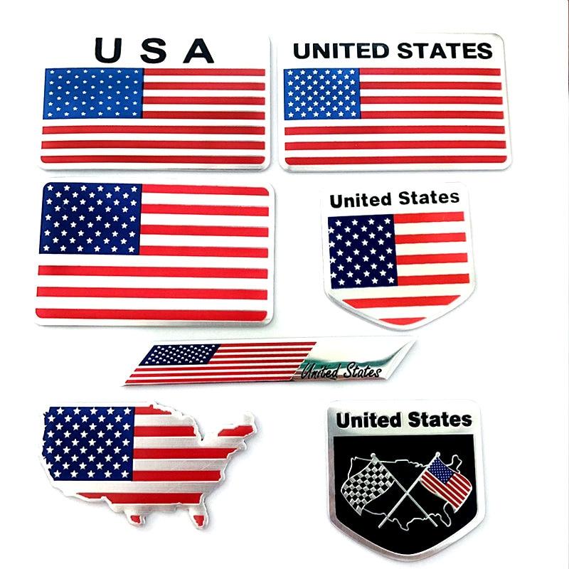 Автомобильные аксессуары для мотоциклов, автомобильные наклейки из алюминиевого сплава с национальным флагом США и США