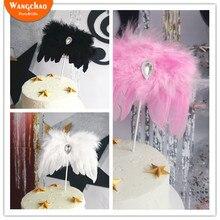 White Diamond Angel Wing Happy Birthday Cake Topper Balck Devil Halloween Decoration Wedding Baby shower Party Favors