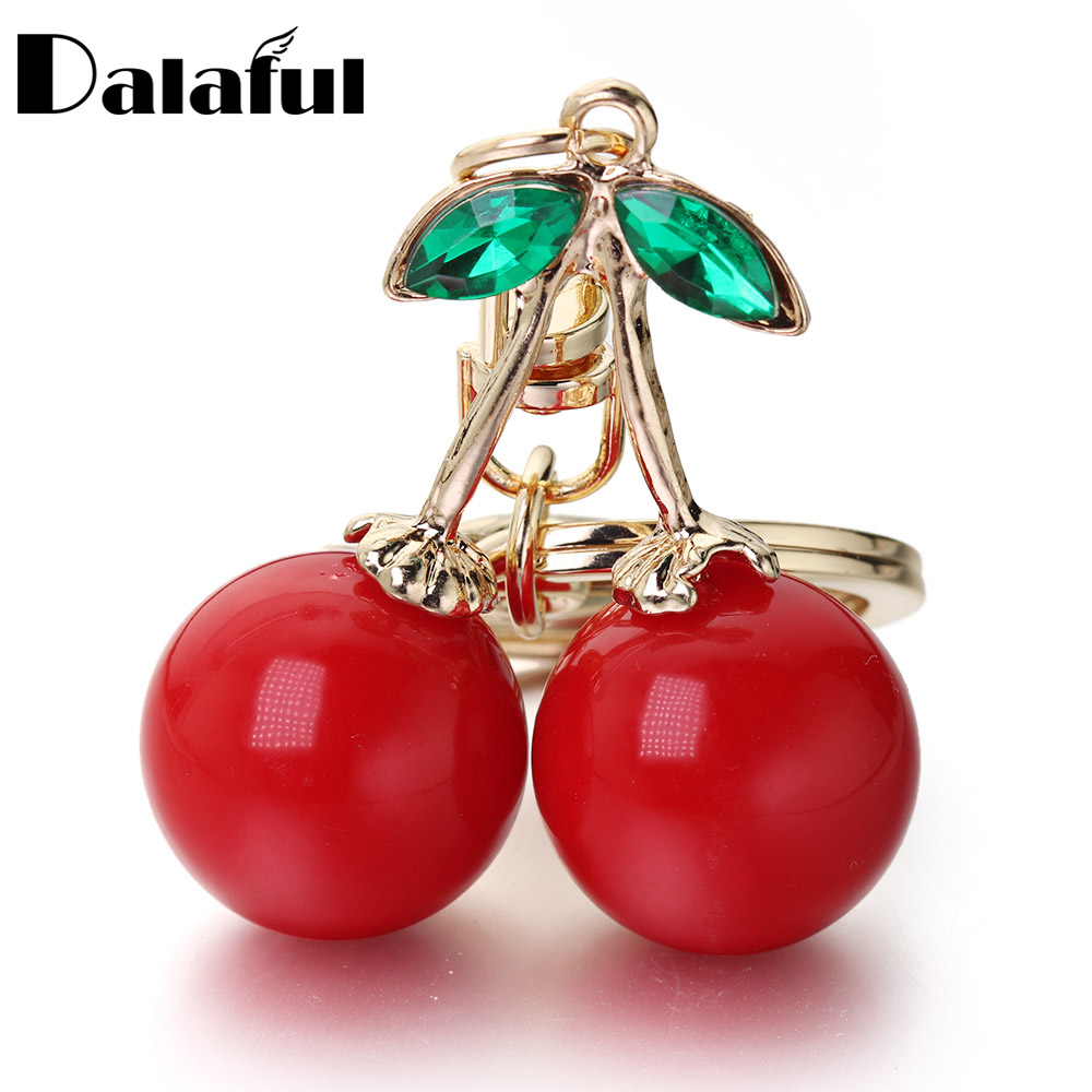 Red Cherry Keychain Keyring Crystal Rhinestone Cute Fruit Female Bag Pendant Accessories Key Chain Ring Holder Jewelry K401