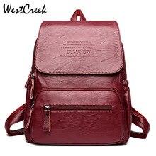 Винтажные кожаные рюкзаки бренда WESTCREEK, Женская дорожная сумка через плечо, рюкзак для женщин, вместительные рюкзаки для девочек