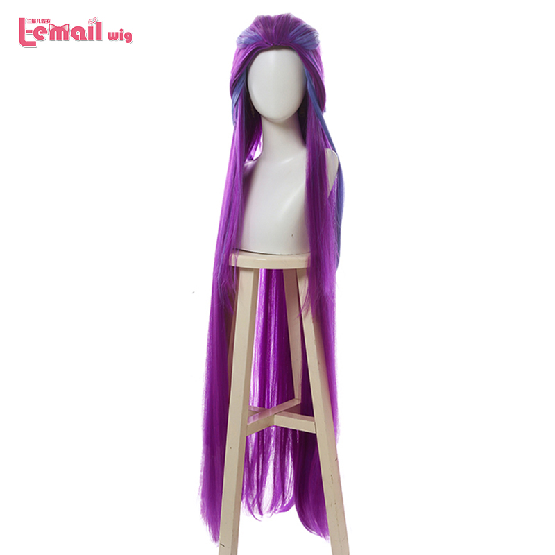 L-email Wig LoL Star Guardians Zoe Cosplay Wigs Cosplay Long Mixed Purple Straight Wig Halloween Heat Resistant Synthetic Hair