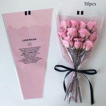 50pcs Transparent Mini Bouquet Bag Single Rose Flower Wrapping Paper Florist Supplies