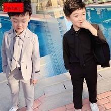 Детский костюм для мальчиков из 3 предметов куртка пальто рубашка