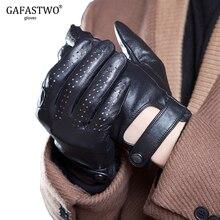 Lente En Zomer Heren Geïmporteerd Schapenvacht Lederen Touch Screen Handschoenen Mode Outdoor Sport Rijden Anti Slip Fietsen Handschoenen