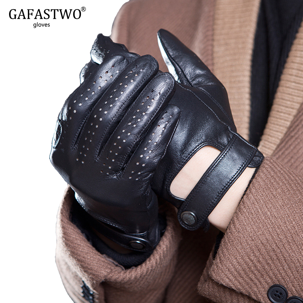Spring And Summer Mens Imported Sheepskin Leather Touch Screen Gloves Fashion Outdoor Sports Driving Anti-Skid Cycling Gloves