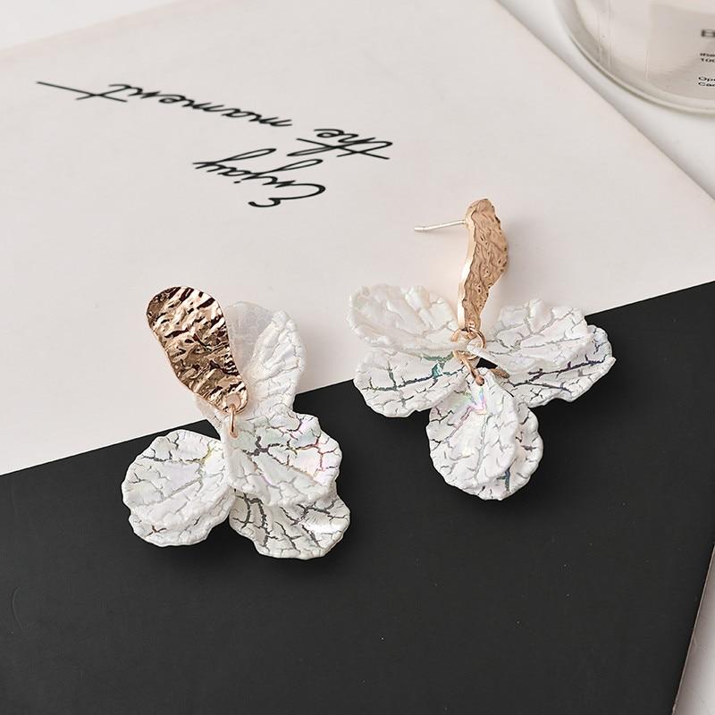 Korean white shell crack flower petal drop earrings for women 2020 new cute sweet irregular earrings trendy jewelry gift