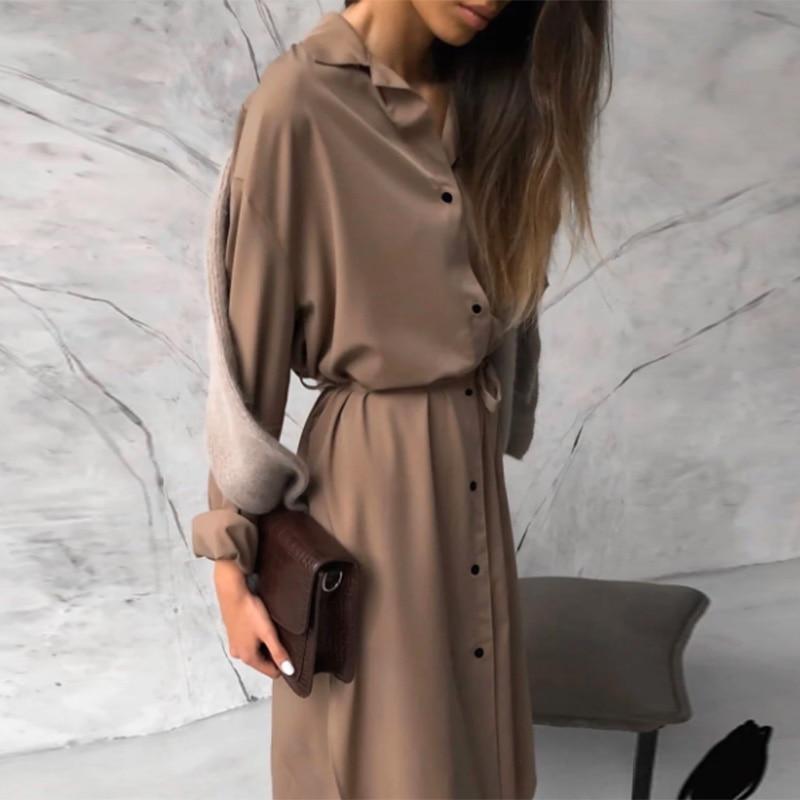 Винтажное однотонное платье рубашка с поясом женское отложным