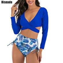 Riseado maillot de bain Sexy, culotte taille haute, portefeuille croisé, manches longues, imprimé feuilles, vêtements pour la plage, maillots de bain femmes