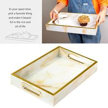 Nordic style Marble Storage Tray Gold Rectangle Glass Makeup Organizer Tray Dessert Plate Jewelry Display Home Kitchen Decor