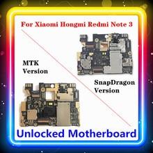 Pour Xiaomi Hongmi Redmi Note 3 carte mère remplacée carte mère avec puces carte logique Android MTK / SnapDragon 16G 32G