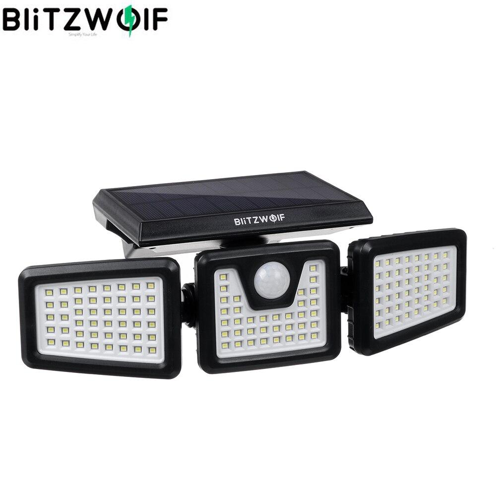Настенный светильник BlitzWolf на солнечной батарее, 6500 К, 128 светодиодов, 3 регулируемые головки, водонепроницаемый IP64, с инфракрасным датчиком ...