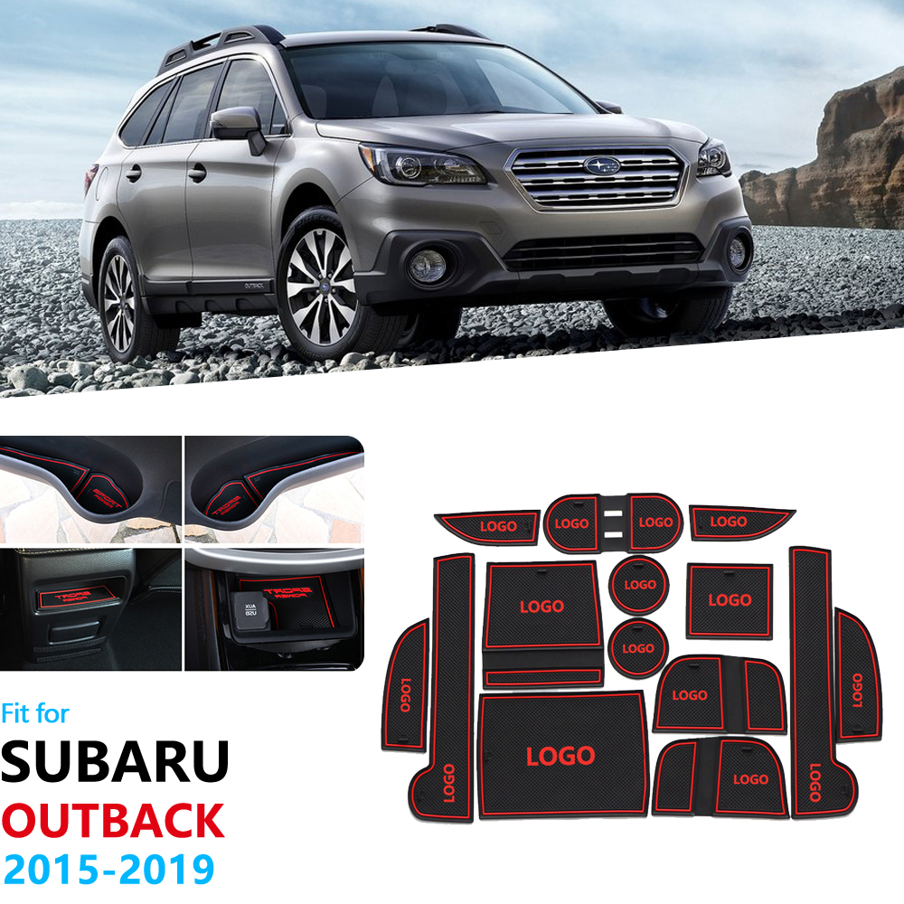 For <font><b>Subaru</b></font> <font><b>Outback</b></font> 2015 2016 2017 2018 2019 Anti-Slip Rubber Gate Slot Cup Mat <font><b>Door</b></font> Groove Coaster Accessories Car Stickers image