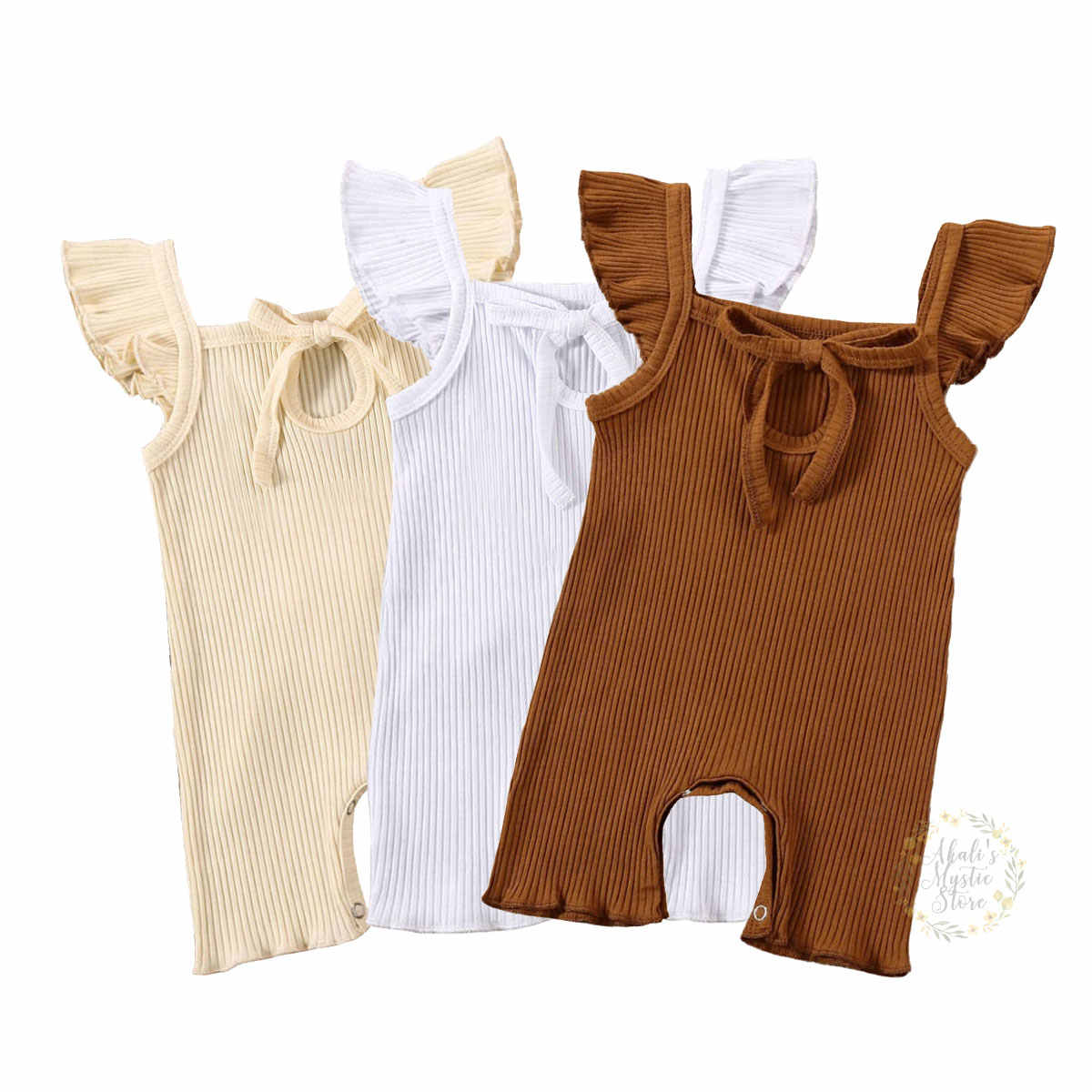 Newborn Kids Baby Girls Short Sleeve Solid Cute Ruffle Ribbed Romper jumpsuit