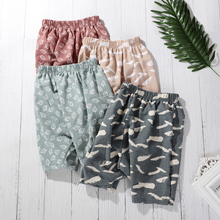fall winter long sleeves pants cotton set grey stripes rufflepumpkin print pant baby kids wear girls clothing with accessory bow 2020 Summer Baby Boys Beach Pant Calf-Length Peg-top Pants Cotton Blend Feather Print Girls Cropped Trouser Casual Kids Clothing