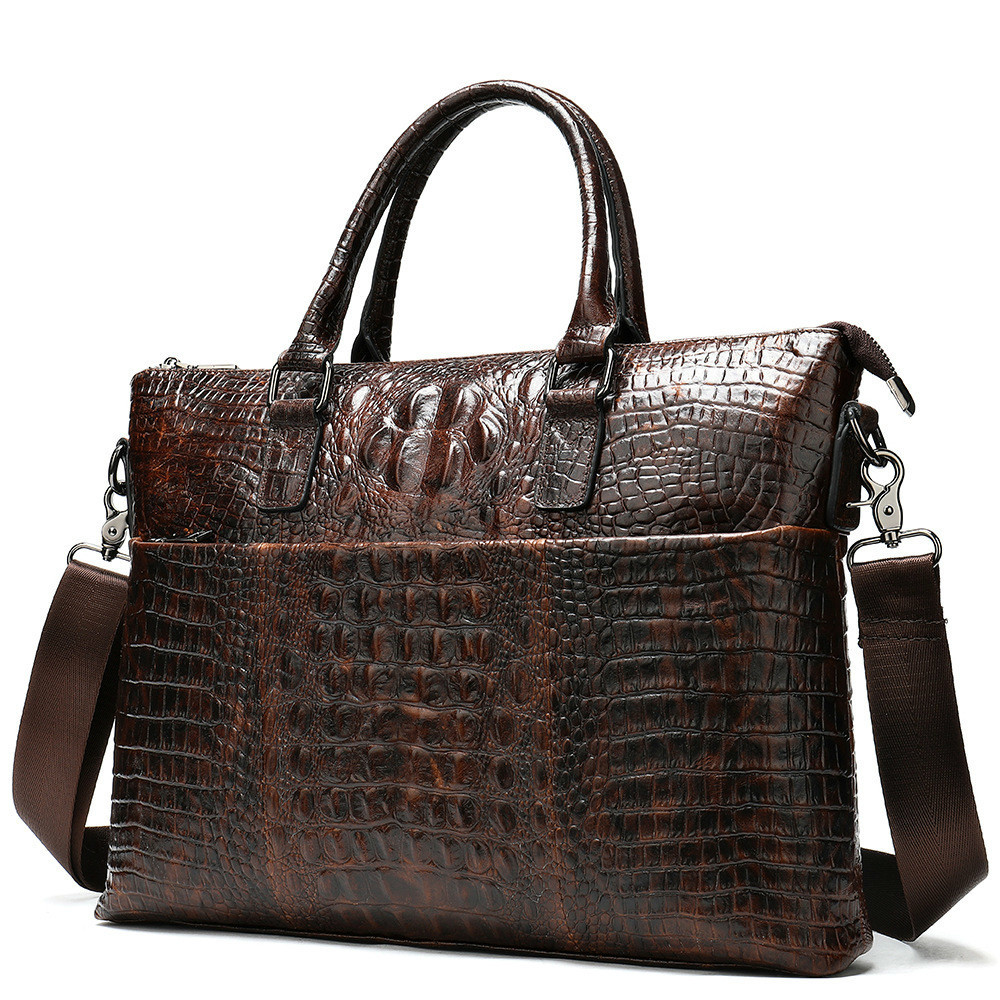 Head Layer Cowhide Briefcase Man Business Affairs Cross Section Crocodile Handbag genuine leather computer office bags for men