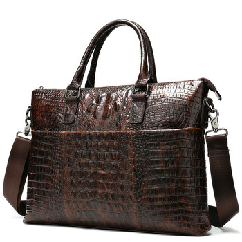 Head Layer Cowhide Briefcase Man Business Affairs Cross Section Crocodile Handbag genuine leather computer office bags for men mshg hong kong crocodile leather men handbag leisure business briefcase cross section men bag