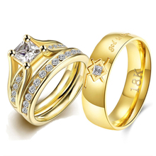 Stainless Steel Wedding Rings Set Couple for Lovers Cubic Zirconia Ring Set for Girl God is Love Statement Lord of the Rings