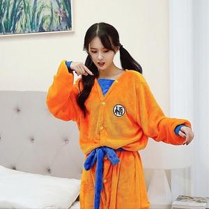 Image 3 - Adult Kids Bathrobe Dragon Ball Son Goku Cosplay Costume Bath Robe Sleepwear Pattern Plush Robe Women Men Pajamas Cartoon