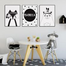 Nordic Black And White Cartoon Animal Bear Fox Decoration Canvas Isabelle Painting Children's Room Bedroom Hanging Picture Oil недорого