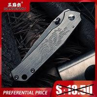 SANRENMU SRM 7129 Folding Messer 12C27 Klinge Edelstahl Griff Outdoor Camping Jagd Obst Schneiden Messer EDC Tasche Werkzeug