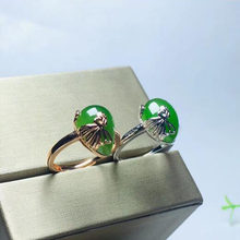 Real Certified Natural Hetian Jasper 925 Sterling Silver Handmade Green Jade Inlaid Bowknot Rings Adjustable High Quality Best G(China)