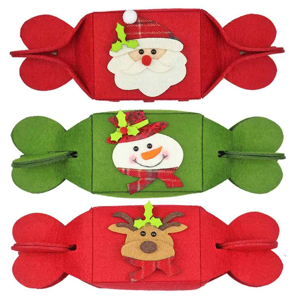 Christmas Candy Bag Folding Candy Gift Bags Creative Non-Woven Pouch for Christmas Decorations