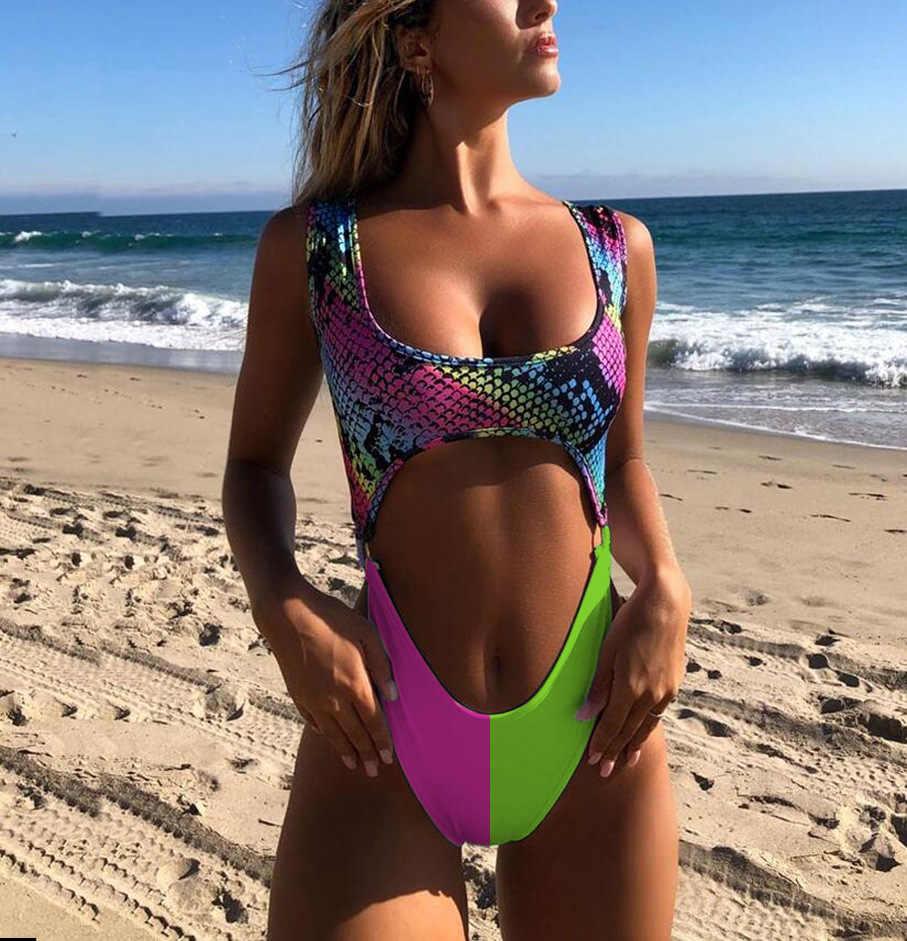 Сексуальный купальник бикини с вырезами женский Монокини Леопардовый бразильский купальник купальный костюм змея Maillot De Bain Femme 2019