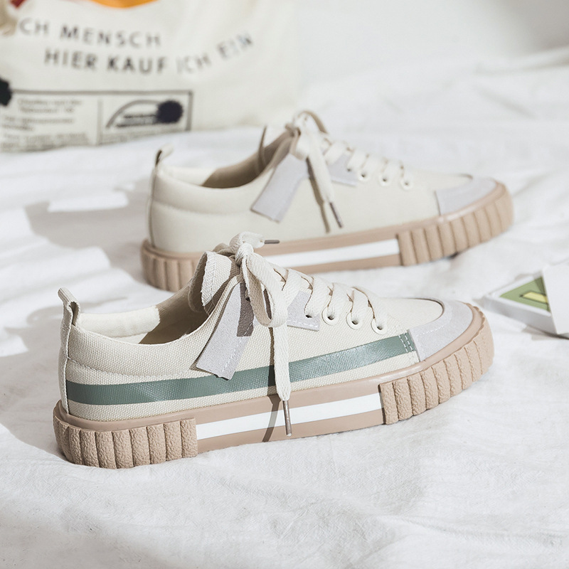 Women Shoes 2020 New Spring Fashion Women Canvas Shoes Casual Flats Striped Casual Vulcanize Shoes Fashion