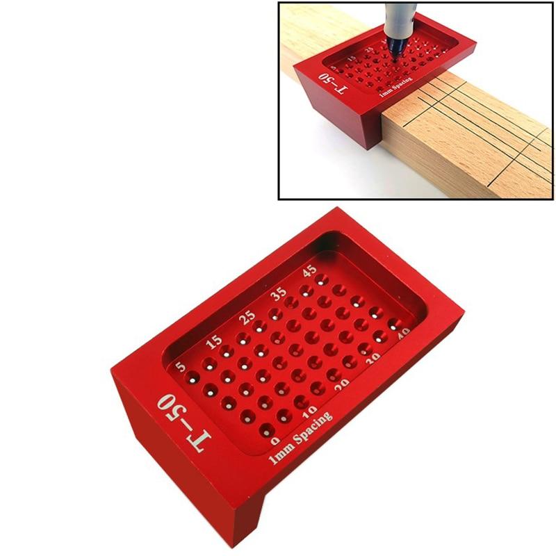 T-50 Measuring Tool Woodworking T-type Scribe Mark Measurement Tool Aluminum Alloy Precision Cross-calibration Ruler