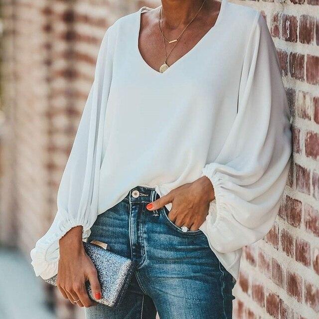 FORUDESIGNS Fashion Vintage Sugar Skull Pattern Large Size Women Blouse 2020 Casual Loose Long Sleeve Tops V-neck Shirts 4