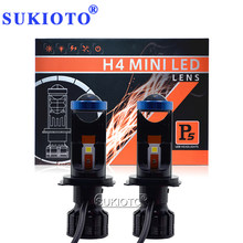 SUKIOTO New 2PCS P5 H4 LED Hi/Lo Beam Mini Projector Lens Headlight 12V 24V 6000K 70W 12000LM Auto Car Light Canbus H4 LED LENS