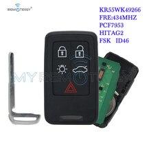 Remtekey KR55WK49264 Smart key 434Mhz 5 button for Volvo 2007 2008 2009 2010 2011 XC70 V70 XC60 S80 S60 window visor vent shades sun rain guard 4pcs for volvo xc60 2009 2015
