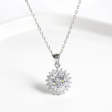ZOBEI Real 925 Sterling Silver Minimalist Flower Pendant Necklace For Elegant Women Party Fine Jewelry Cute Accessories 2019