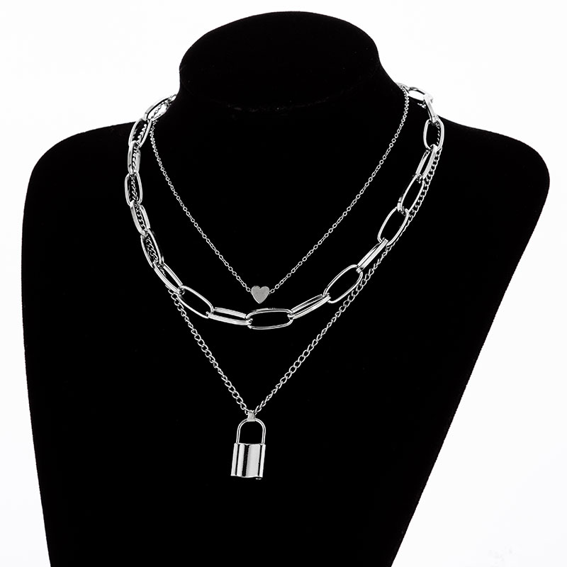 Hfb73266f77614ec085c86ba21d9d1625M - KMVEXO Multilayer Lock Chain Necklace Punk Padlock Key Pendant Necklace Women Girl Fashion Gothic Party Jewelry