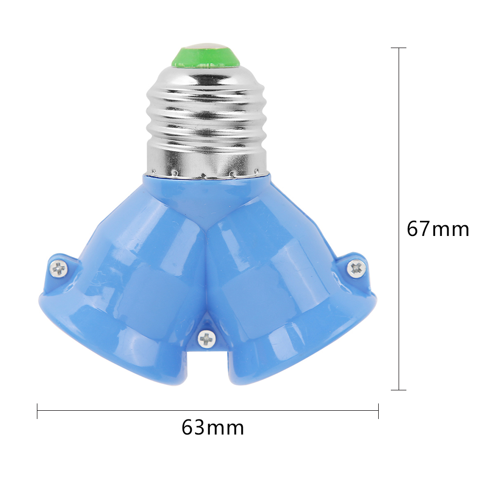 2 в 1 двойной E27 разъем удлинитель основания сплиттер разъем галогенный светильник лампа держатель медный контакт адаптер конвертер - Цвет: Blue